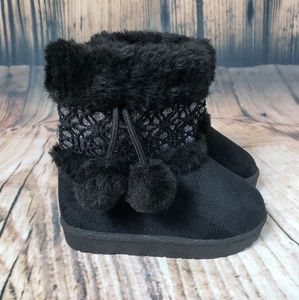 Girl Boots Faux Suede Pom Winter Boots Fur